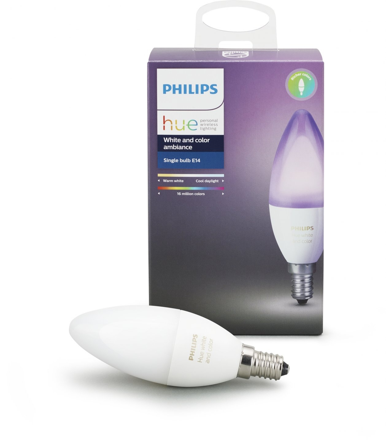 Умная лампа Philips Hue White and Color Ambiance E14