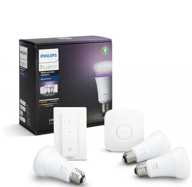 Комплект умных ламп Philips Hue White and Color Ambiance E27 Starter Kitс пультом ДУ и блоком управления Richer Colors ( 929001257361)