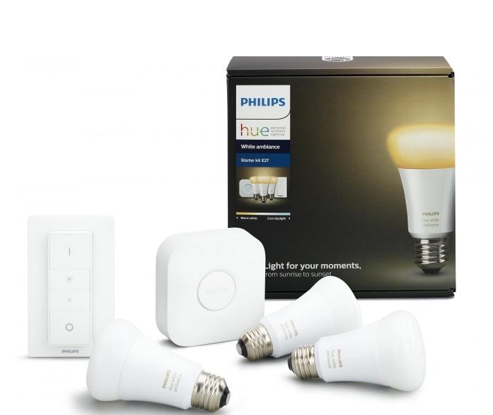 Комплект умных ламп Philips Hue White Ambiance E27 Starter Kit с пультом ДУ и блоком управления