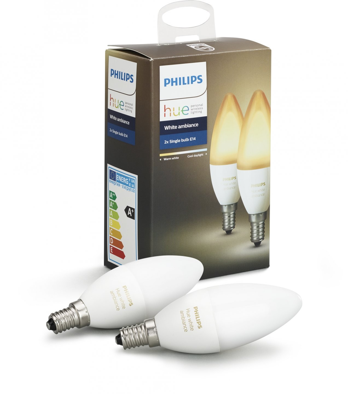 Умная лампа Philips Hue White Ambiance E14 (2 штуки)